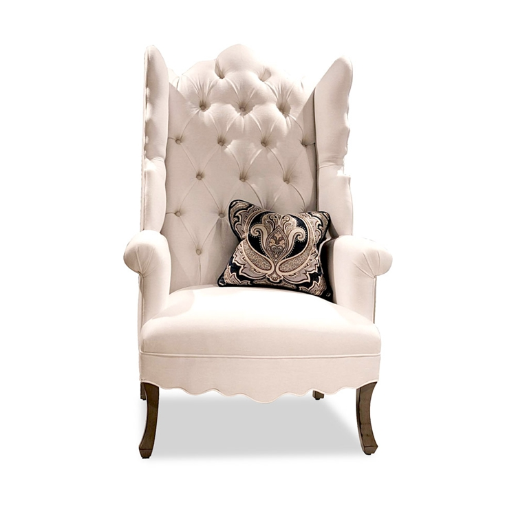 Bon Isabella Tufted White Linen Wing Chair