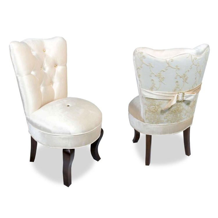 Cream Velvet Vanity Chair - Glamorous Furniture - Haute House Home