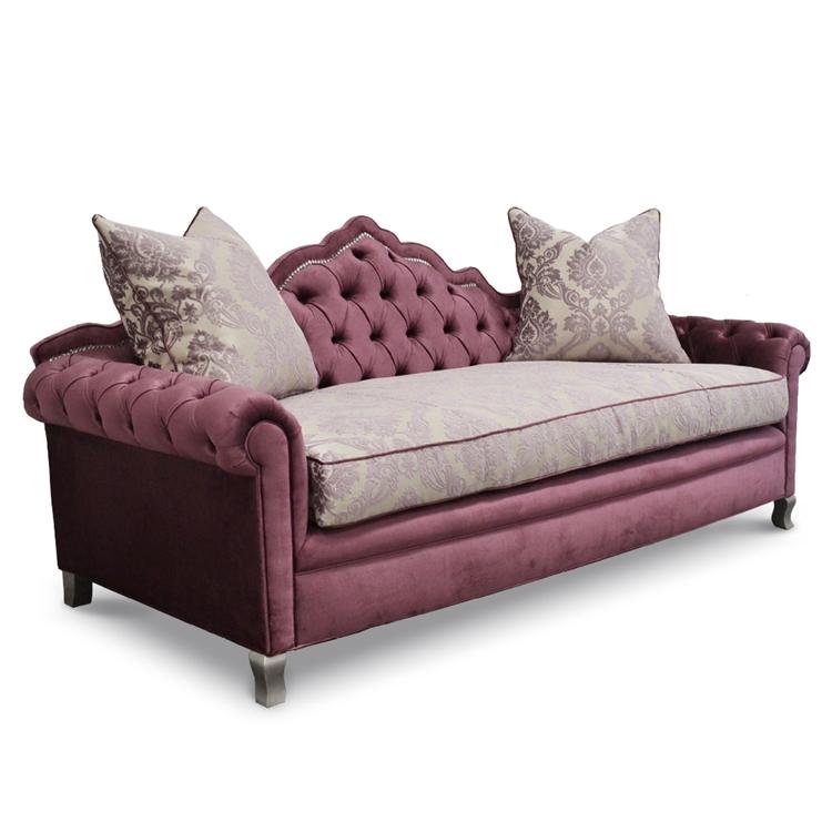 Purple Velvet Sofa - Amour Rococo Sofa - HauteHouseHome