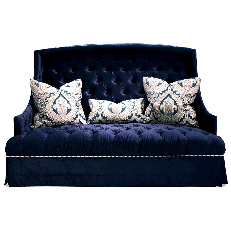 Navy tufted sofa tov furniture s99 hanny tufted navy blue for House of haute