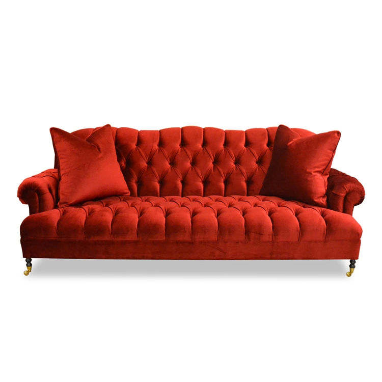 Bon Smith Tufted Red Velvet Sofa