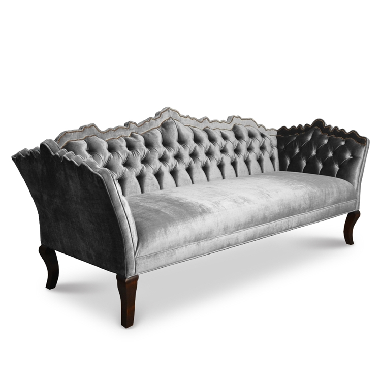 Bellisimo Tufted Sofa Grey Velvet