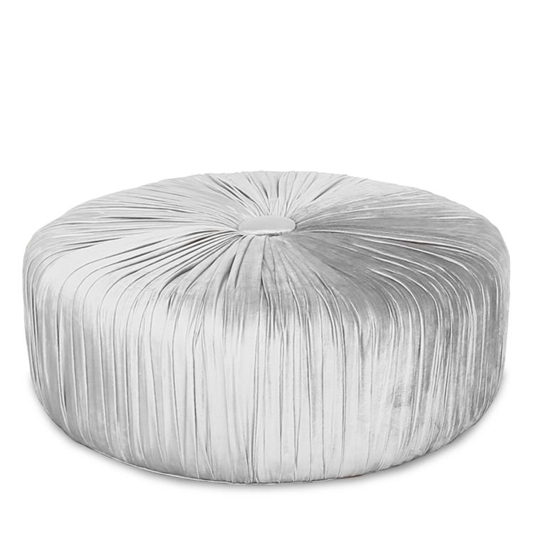 Pasha Silver Ottoman - Pasha Ottoman - Silver Velvet Ruched Ottoman - HauteHouseHome.com