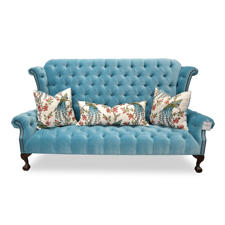 Blue Velvet Tufted Sofa - Hollywood Glam Furniture - Haute House Home