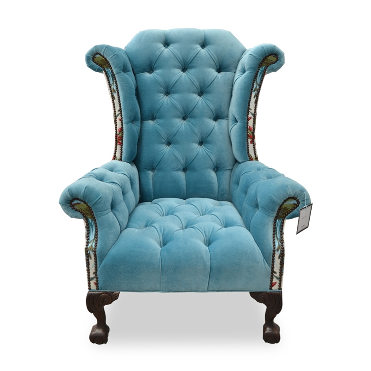 Tufted Wing Back Chair Blue Velvet Fabric Haute House Home