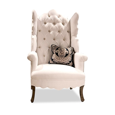 Isabella Tufted White Linen Wing Chair