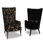 Hollywood Glam Furniture - Black Velvet Damask - Haute House