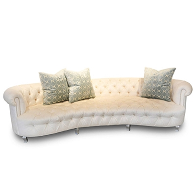 Audrey Cream Velvet Tufted Glam Sofa