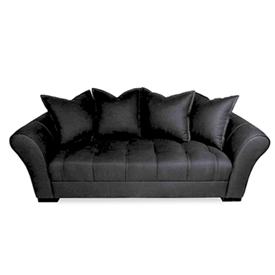 Avid Button Pulled Black Linen Sofa