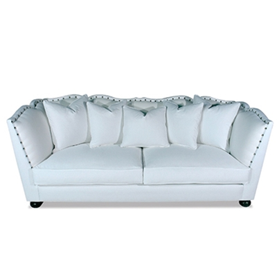 Santiago Old World White Velvet Sofa