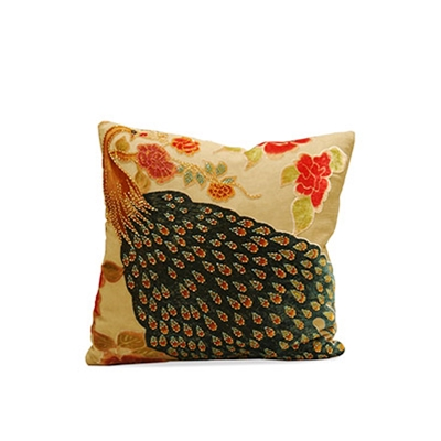 Haute House Home | Pillows | Peacock Pillow Buckwheat