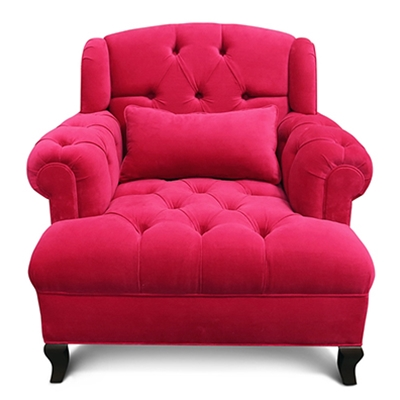 Old Hollwood Furniture - Fushia Tufted Velvet Chair - Haute House