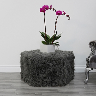 Hex Charcoal Faux Fur Polygon Ottoman - HauteHouseHome.com