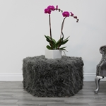 Hex Charcoal Faux Fur Polygon Ottoman - Floor Sample - HauteHouseHome.com