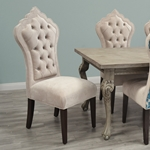 Isabella Dining Chair - Taupe Tufted Dining Chair - HauteHouseHome.com