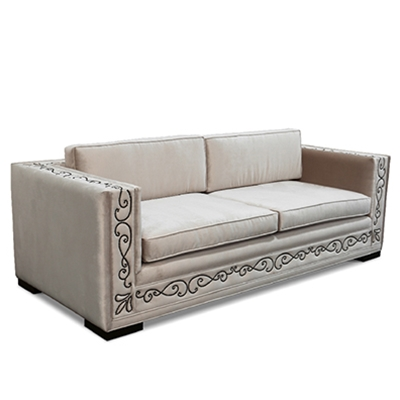 Filigree Sofa - Grey Velvet - HauteHouseHome.com