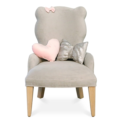 Eli Grey Velvet Bear Baby Chair