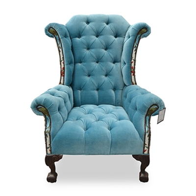 Carter Tufted Blue Velvet Chair