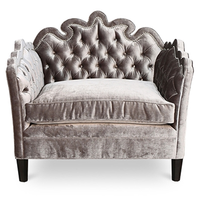 Bella Tufted Steel Grey Velvet Chair