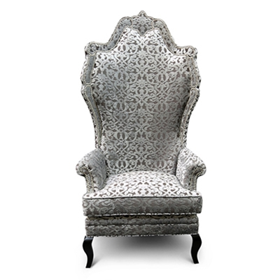 Anette Grey Velvet Damask Chair