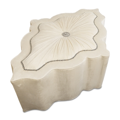 Amour Ruched Ivory Sample Ottoman