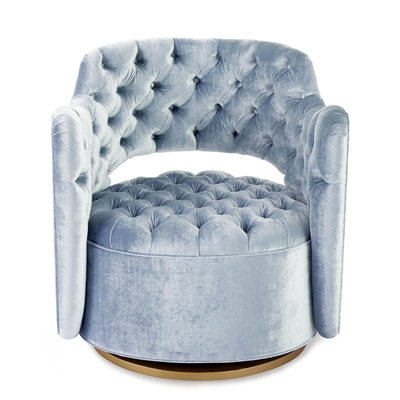 Tatiana Swivel Denim Blue Velvet Chair