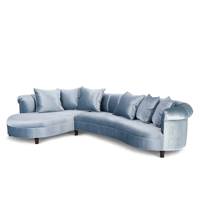 Audrey Channeled Shimmer Denim Velvet Sectional