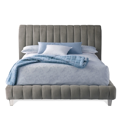Amal Channel Grey Velvet Bed