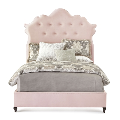 Arabella Light Pink Velvet Bed