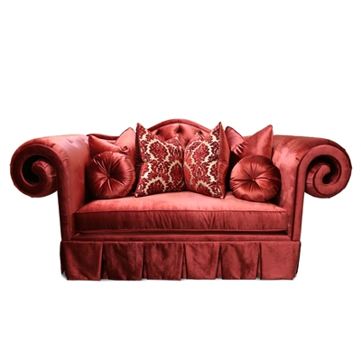 Grand Theodore Hollywood Regency Scroll Red Loveseat