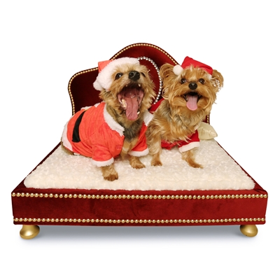 Hermes Red Velvet Pet Bed