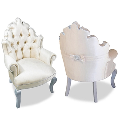 Isabella Tufted White Velvet Chair