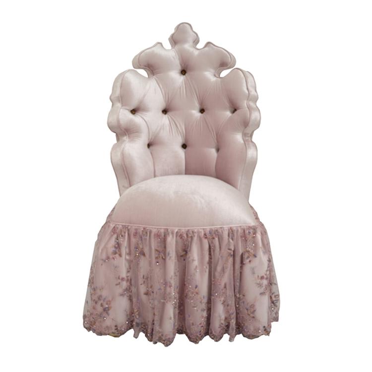 Tufted Vanity Chair Lavender Cotton Velvet Haute House