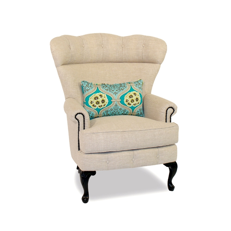 Button Back Linen Wing Chair