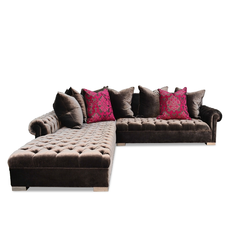 Smith Tufted Crush Charcoal Velvet Sectional