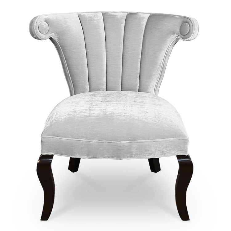 Kyle Channel Chair - Silver Velvet Channeled Chair - HauteHouseHome.com