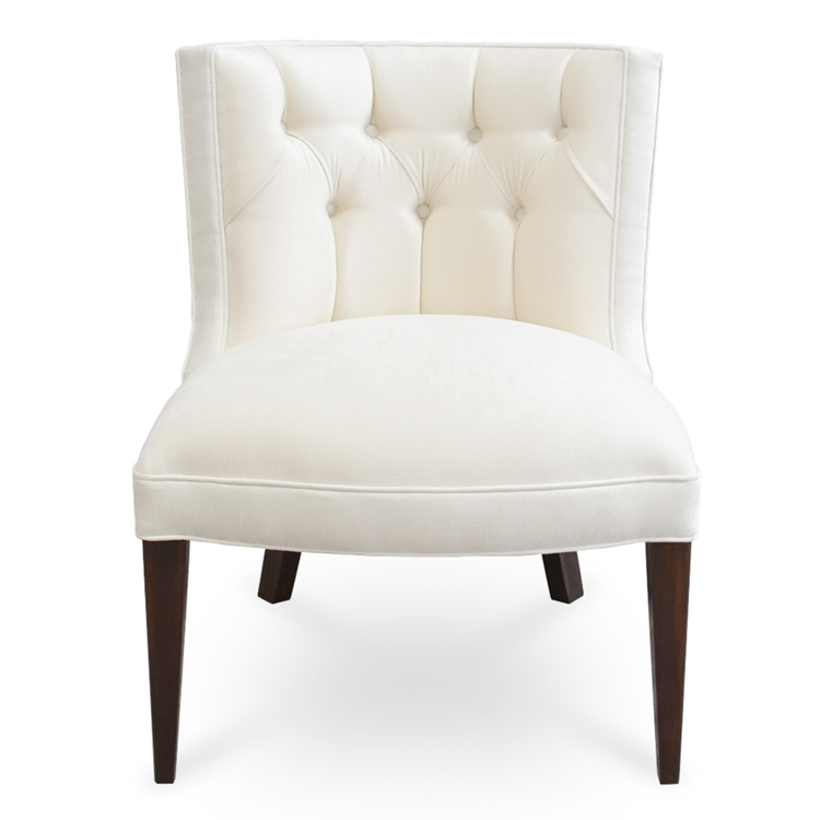 Tiffany Armless Chair - Ivory Velvet Vanity Chair - HauteHouseHome.com