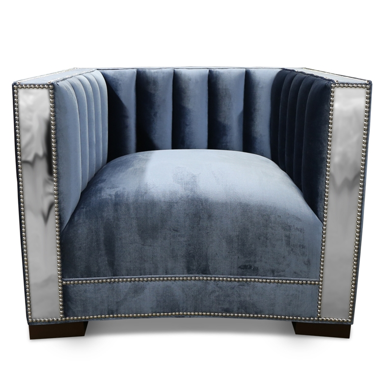 Rye Channel Chair - Shimmer Colored Velvet - HauteHouseHome.com