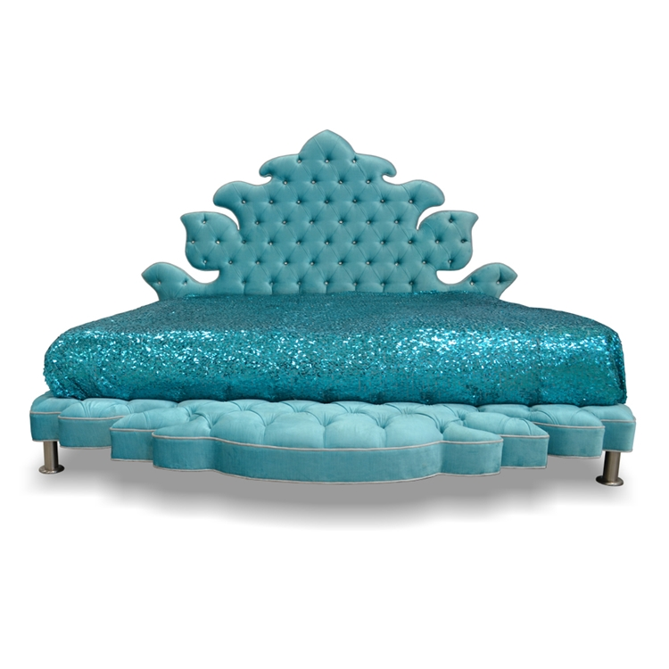 Dervish Tufted Aqua Velvet Bed