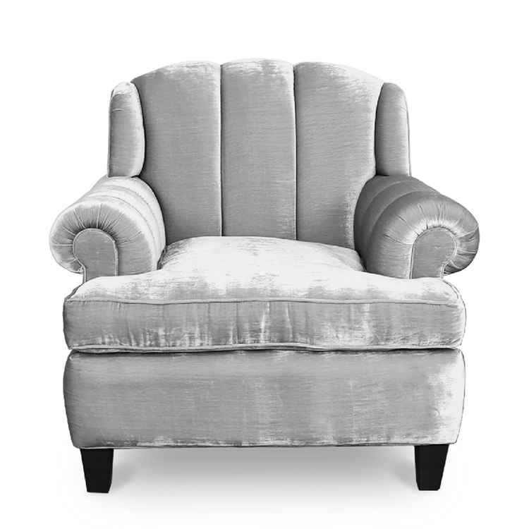 Smith Channel Chair - Silver Velvet Channeled Chair - HauteHouseHome.com