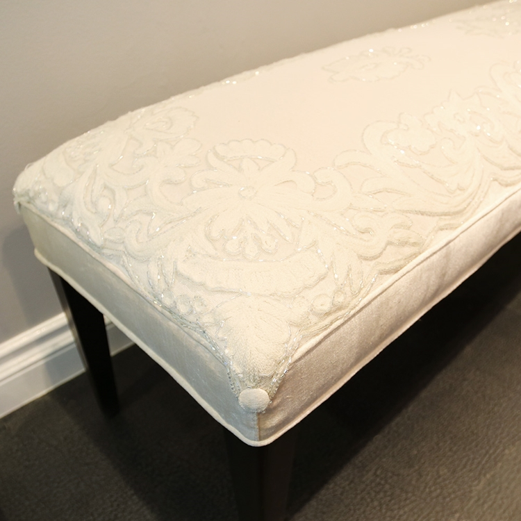 Le Vau Ivory Embroidery Bench - HauteHouseHome.com
