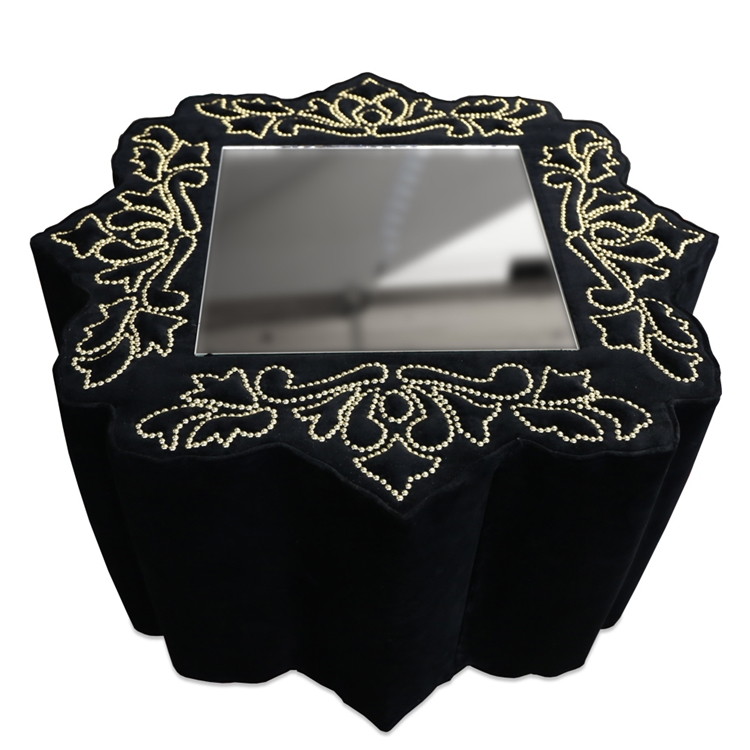 Frederique Charcoal Velvet Swivel Ottoman