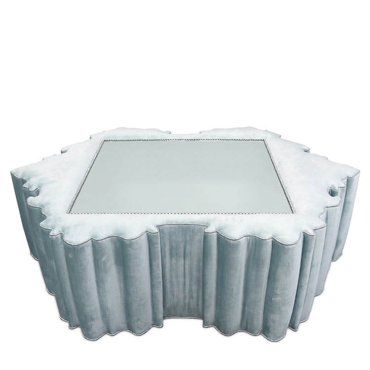 Thebes Mirror Light Blue Velvet Ottoman