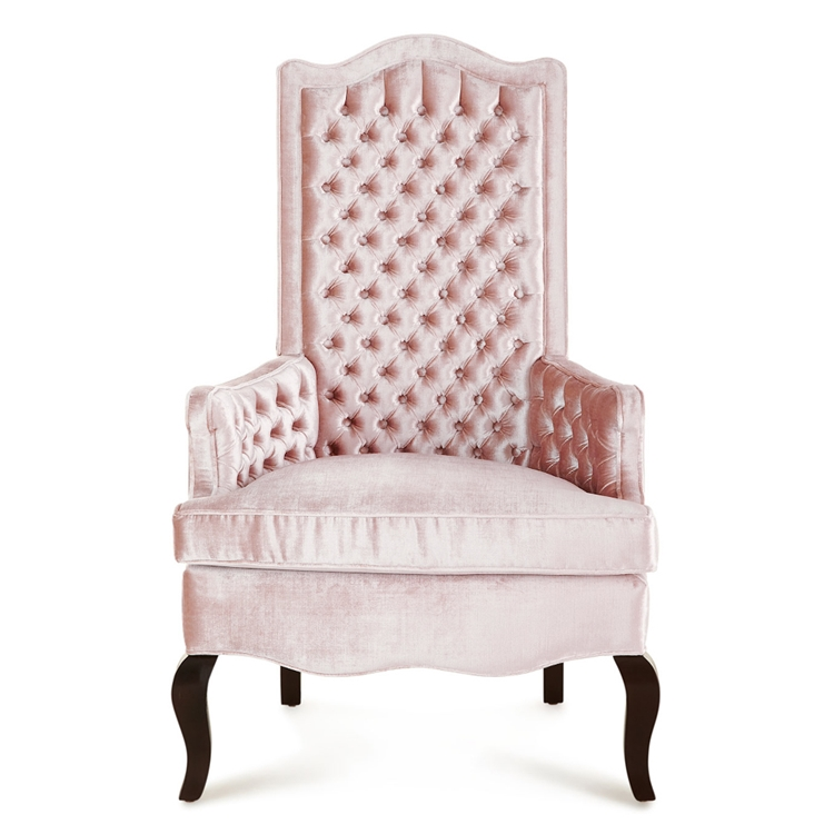 Marion Tufted High Back Coral Pink Velvet Chair