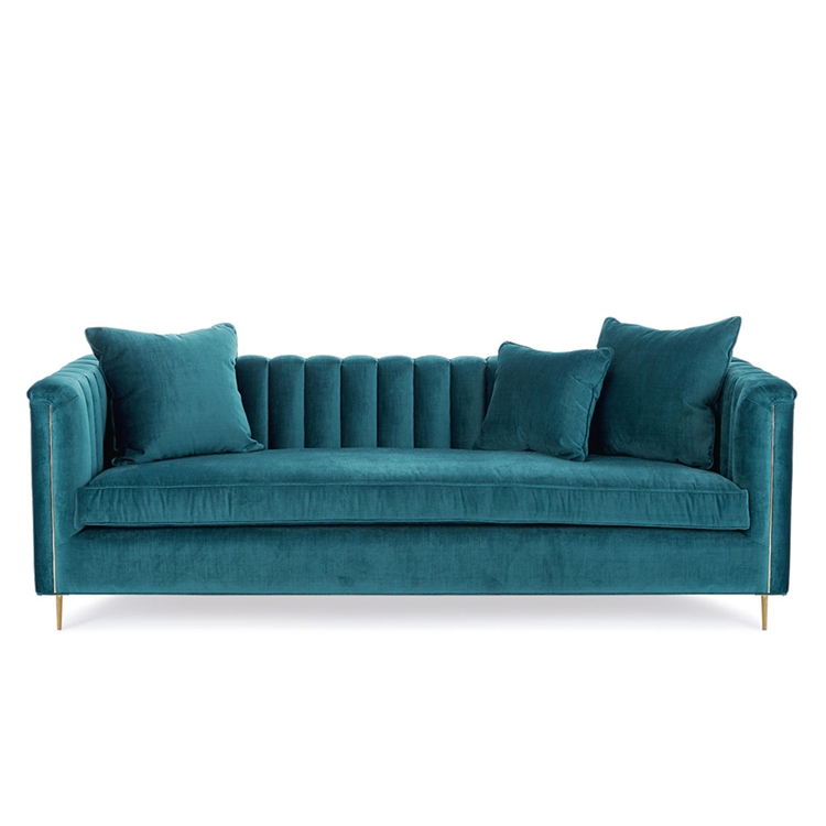 Baxter Caribbean Textured Channel Velvet Sofa